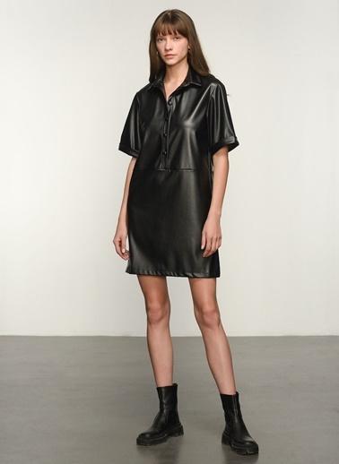 NGSTYLE NGKAW21EL0023 Suni Deri Gömlek Elbise Siyah